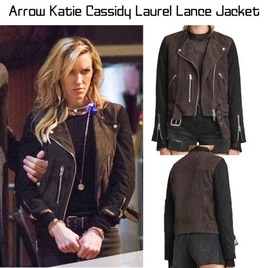 Biker Arrow Katie Cassidy Suede Jacket