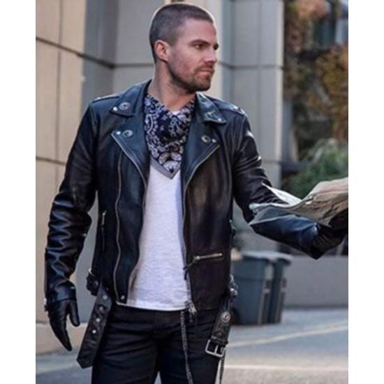 Arrow Oliver Queen Elseworlds Black Leather Jacket