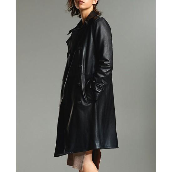 Arrow S08 Juliana Harkavy Dobule Breasted Black Coat