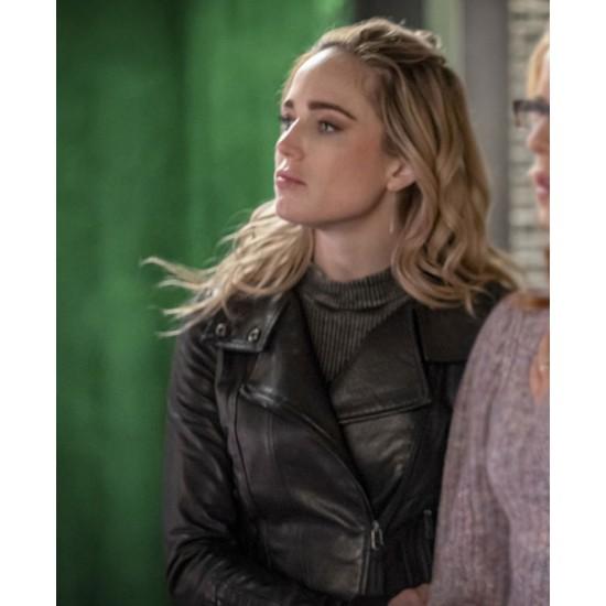 Arrow Season 08 Caity Lotz Biker Leather Jacket