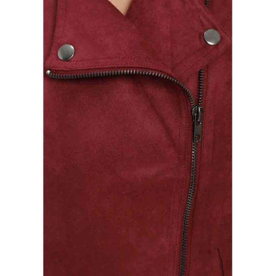 Arrow Season 5 Willa Holland Red Suede Biker Jacket