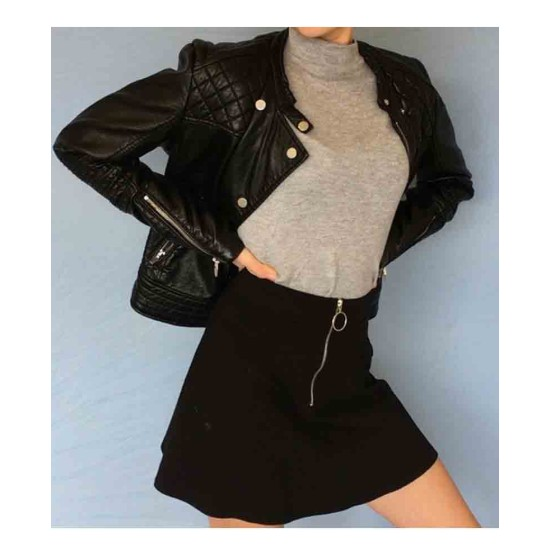 Arrow Willa Holland Biker Black Leather Jacket