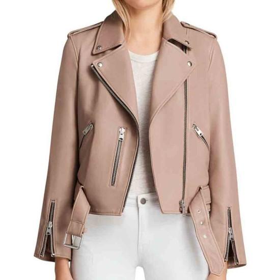 Arrow Willa Holland Biker Pink Leather Jacket