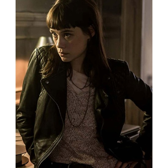 Astrid Bergès Frisbey The Vault Black Leather Jacket