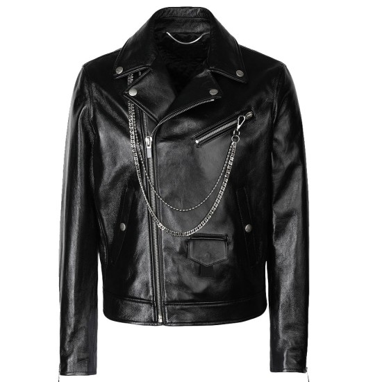 Men's Asymmetrical Zipper Motorcycle Chains Leather Jacket