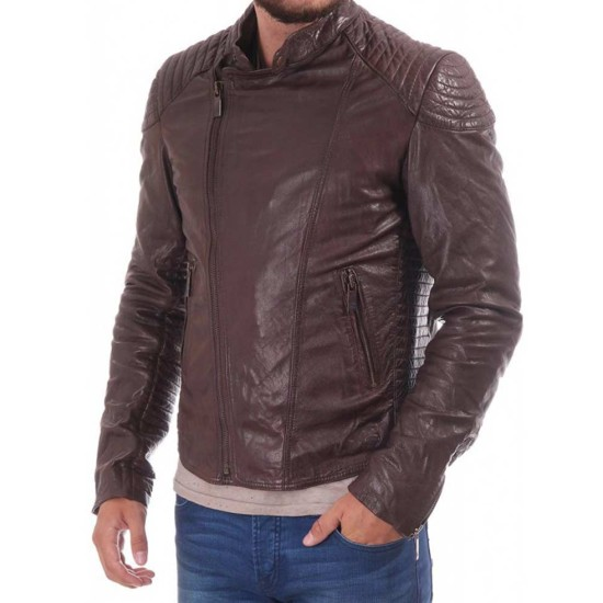 Men's Biker Asymmetrical Brown Leather Jacket