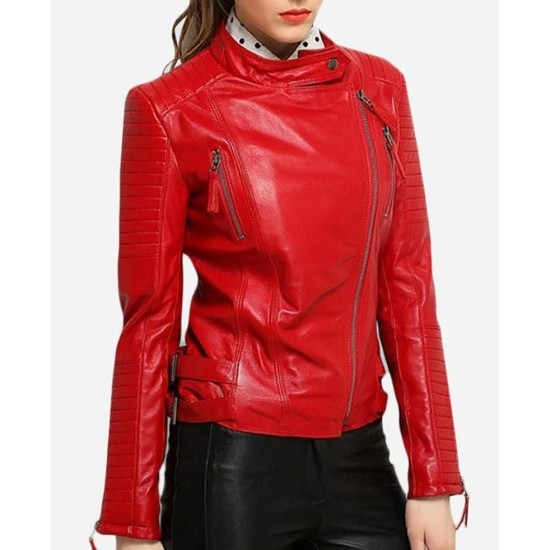 Women's Padded Sleeves Asymmetrical Red Leather Biker Jacket