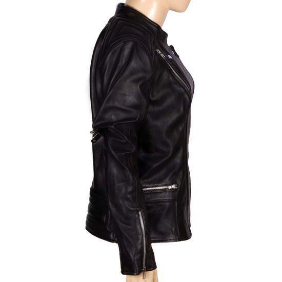 Abbey Crouch Cropped Biker Style Black Leather Jacket