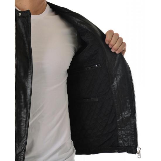 Men's Collarless Asymmetrical Black Leather Jacket