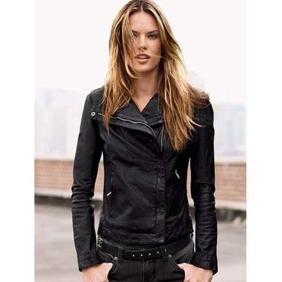 Alessandra Ambrosio Asymmetrical Zipper Jacket