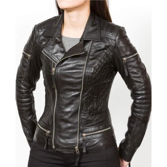 Women's Biker Asymmetrical Zipper Black Leather Jacket