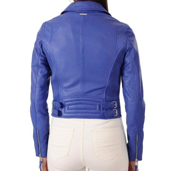 Women's Asymmetrical Zipper Blue Leather Biker Jacket