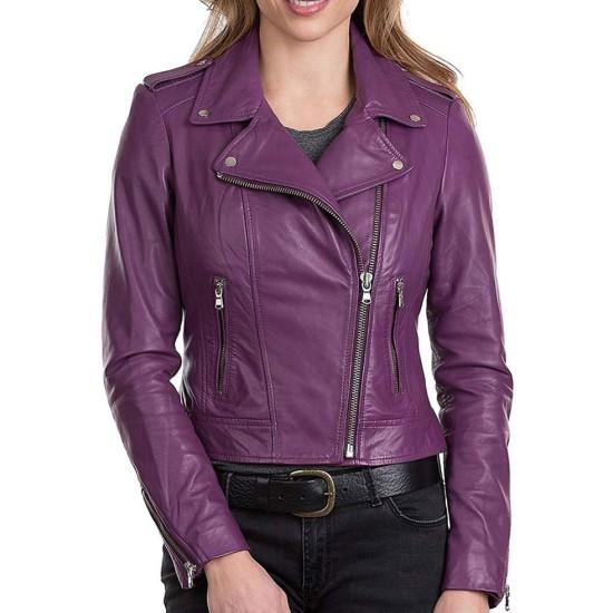 Women's Asymmetrical Zipper Purple Leather Biker Jacket
