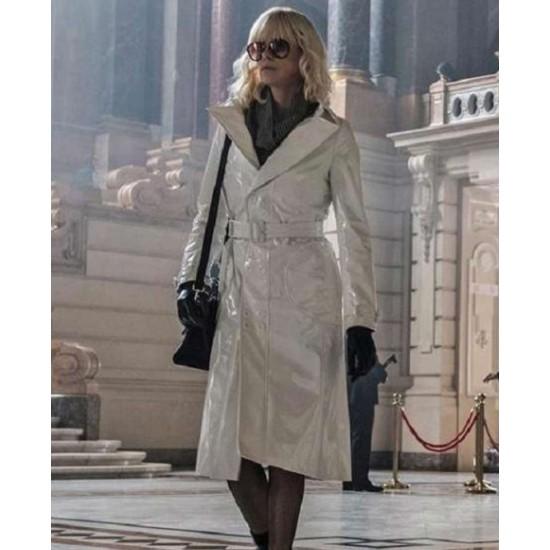Atomic Blonde Lorraine Broughton White Leather Coat
