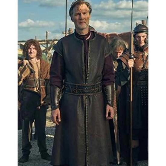 David Morrissey Britannia Sleeveless Leather Coat