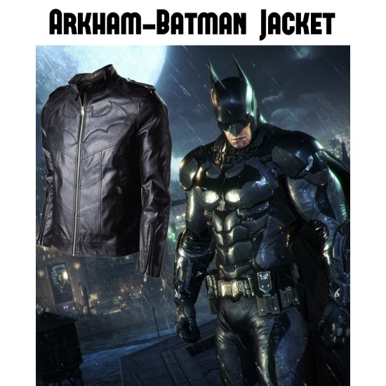 Batman Arkham Knight Black Leather Quilted Logo Jacket