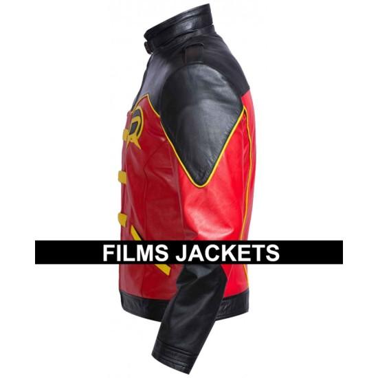 Tim Drake Batman Robin Red Leather Jacket