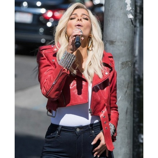 Bebe Rexha The Way I Are Red Leather Jacket
