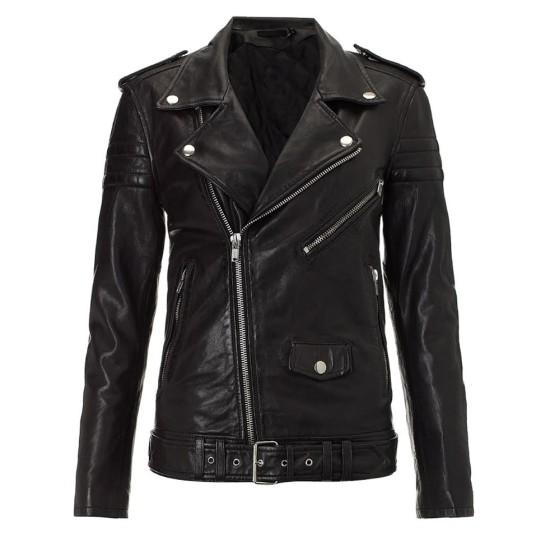 Biker Style Kim Kardashian Black Leather Jacket