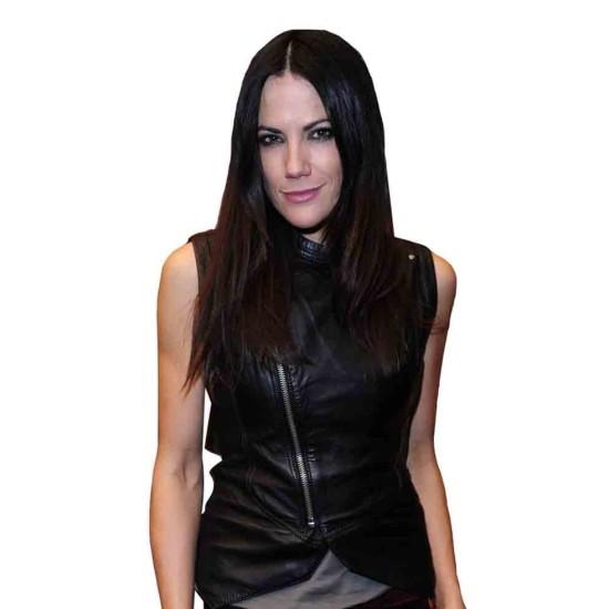 Bettina Zimmermann Asymmetrical Zipper Leather Vest