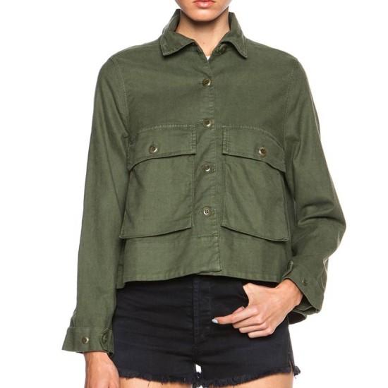 Big Little Lies Shailene Woodley Cotton Green Jacket