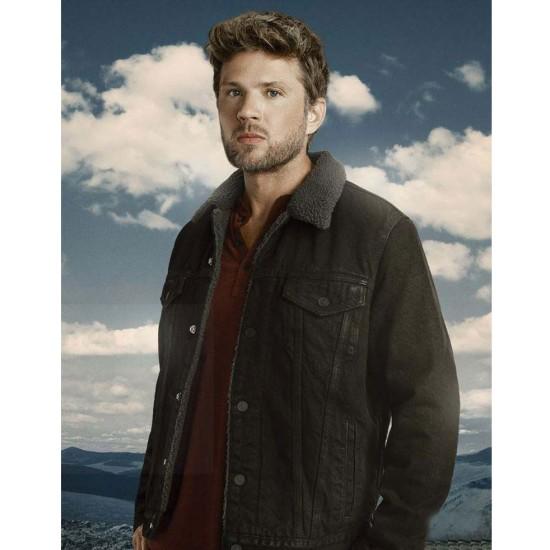 Big Sky Ryan Phillippe Denim Black Jacket with Fur Collar