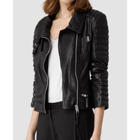 Amber Heard Motorcycle Black Leather Jacket
