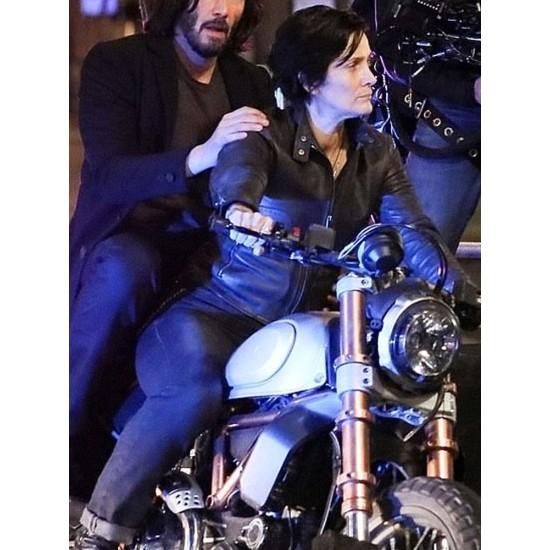 Carrie-Anne Moss The Matrix 4 Biker Leather Jacket