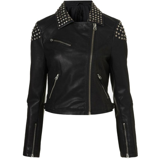 Studded Design Demi Lovato Biker Jacket