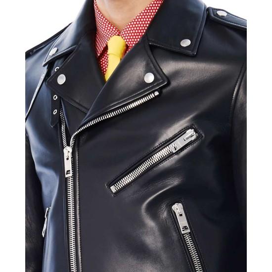 Jared Leto Biker Blue Leather Jacket