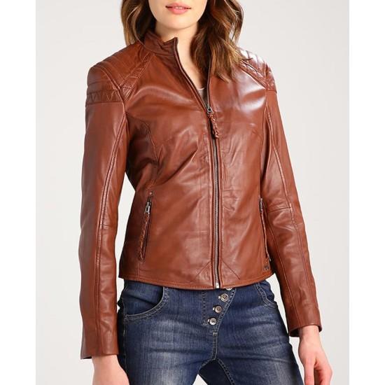 Women's Biker Style Casual Brown Leather Jacket