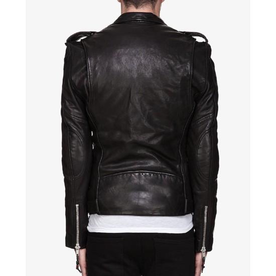 Men's Asymmetrical Zipper Biker Black Leather Jacket