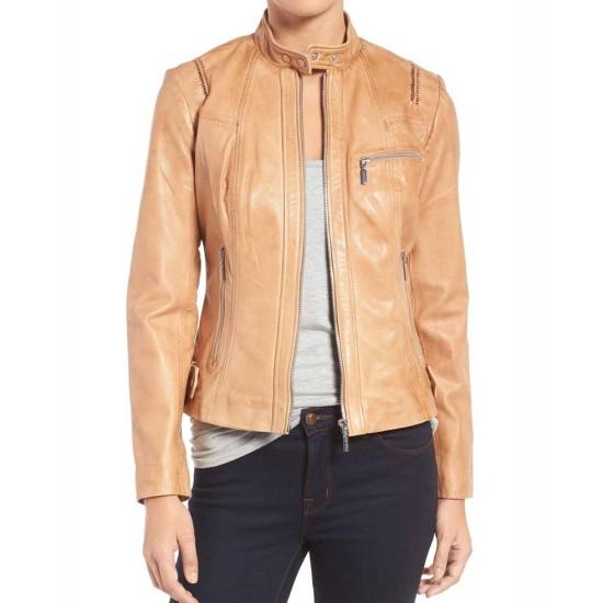 Women's Moto Tan Leather Jacket