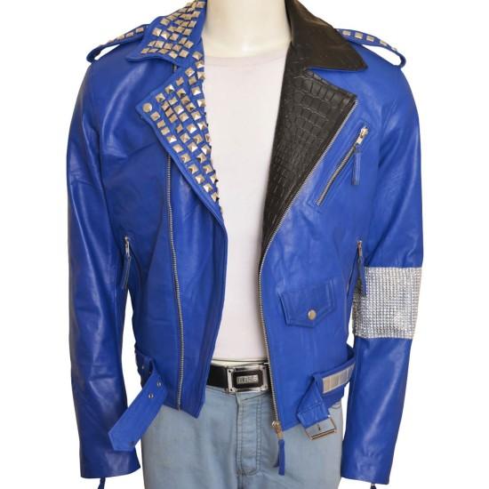 Biker Style WWE Brian Kendrick Blue Leather Jacket