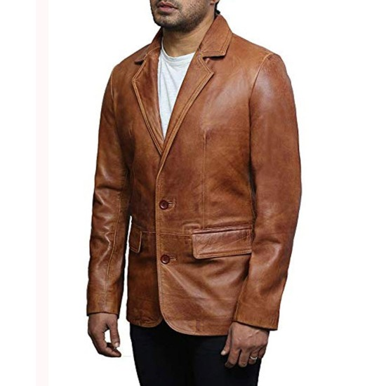 Billy Wayne Ruddick Brown Leather Blazer