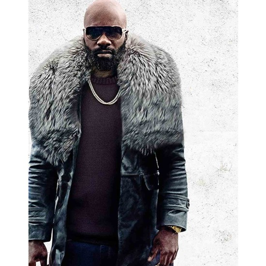 Black and Blue Mike Colter Black Leather Coat