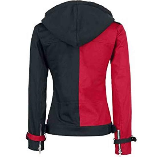 Women's Black and Red Harley Quinn Biker Hooded Jacket