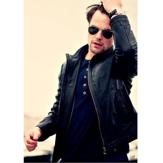 Danila Kozlovsky Stylish Casual Leather Jacket