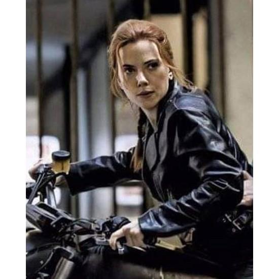 Scarlett Johansson Black Widow Motorcycle Leather Jacket