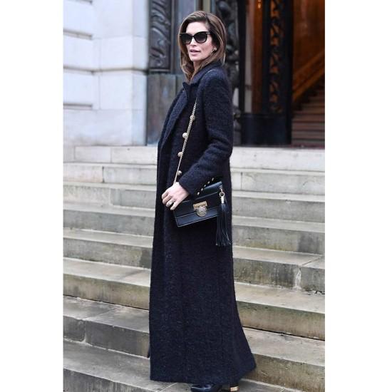 Cindy Crawford Black Wool Trench Coat