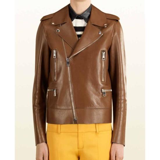 Biker Blake Lively Brown Leather Jacket