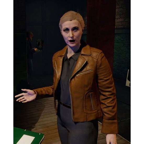 Blood & Truth Anne Marks Brown Leather Jacket