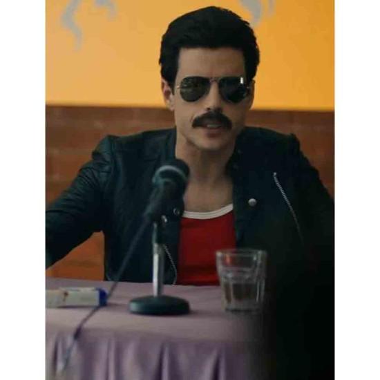 Bohemian Rhapsody Rami Malek Black Leather Jacket