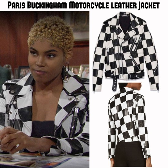 Diamond White Bold and the Beautiful Checkered Black and White Leather Jacket