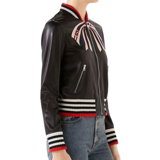 Dorinda Medley Bow Black Leather Jacket