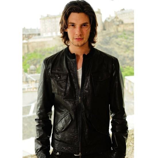 Ben Barnes Bomber Black Leather Jacket