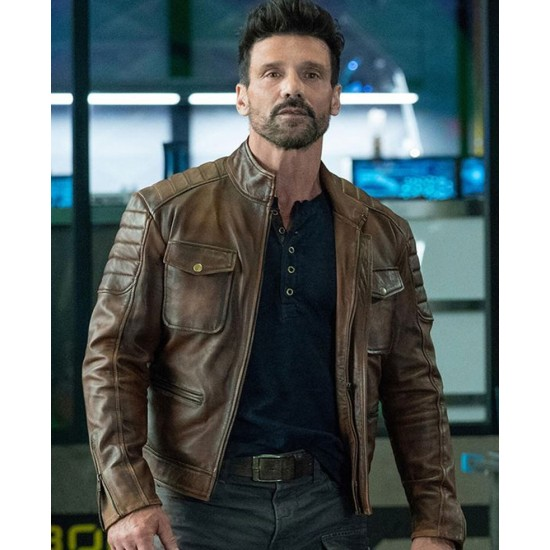 Frank Grillo Boss Level Brown Leather Jacket