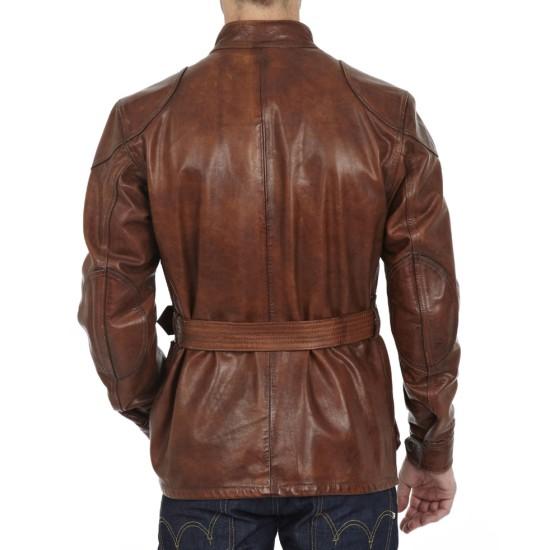Brad Pitt Benjamin Button Brown Leather Motorcycle Jacket