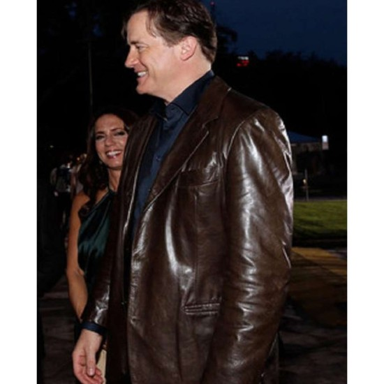 Brendan Fraser Dark Brown Leather Jacket