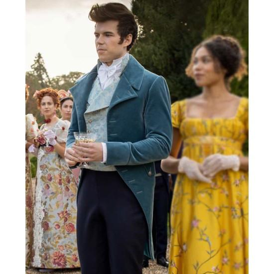 Bridgerton Luke Newton Blue Velvet Coat